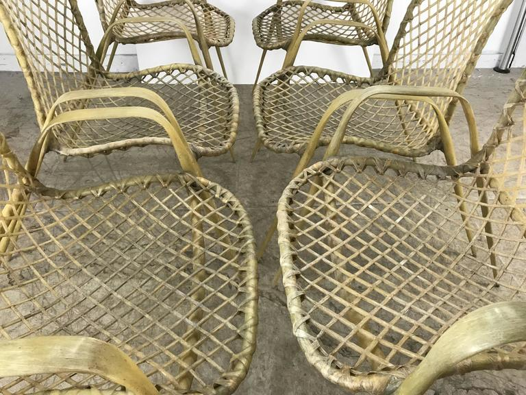 Set of Six Resin String Chairs, Modernist Indoor / Outdoor by Troy Sunshade In Good Condition For Sale In Buffalo, NY
