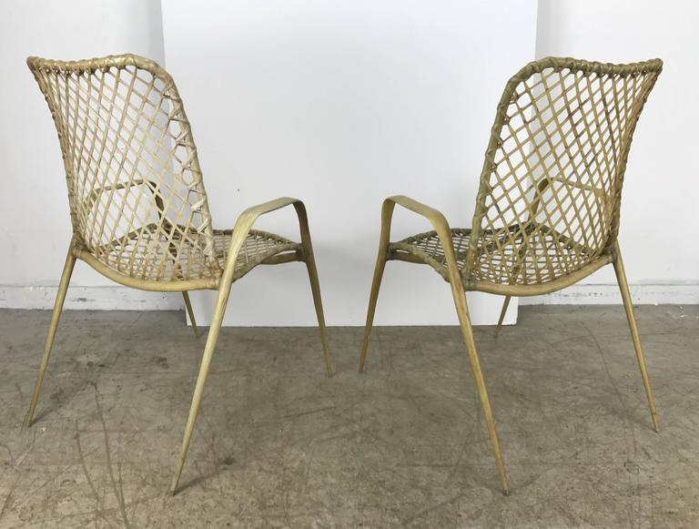 20th Century Set of Six Resin String Chairs, Modernist Indoor / Outdoor by Troy Sunshade For Sale