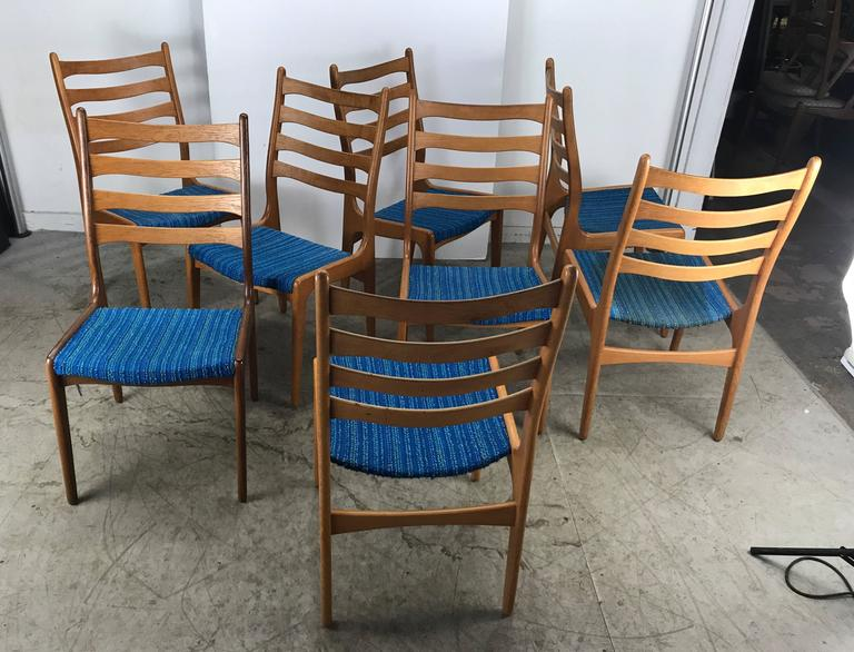 Scandinavian Modern Set of Eight Sculptural Dining Chairs by Poul Volther, Frem Rojle, Denmark For Sale