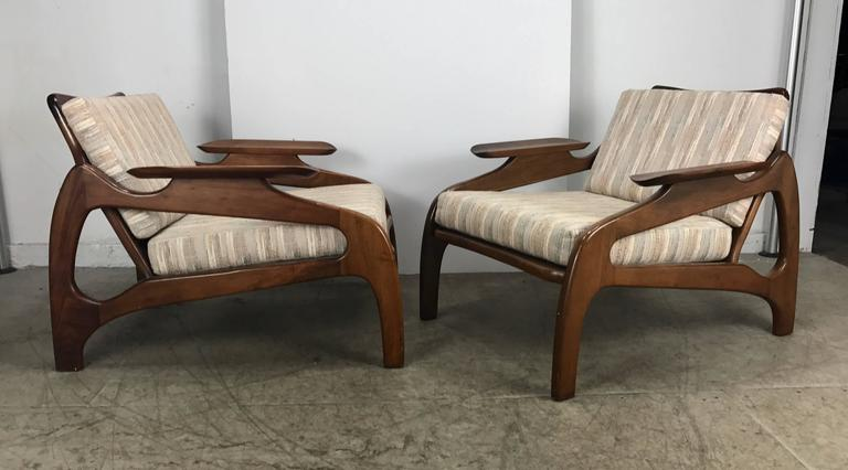 Pair Of Model 1209c Walnut Lounge Chairs By Adrian