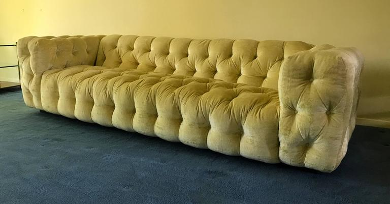 Elusive Velvet Button Tufted Sofa Designed By Milo Baughman For Thayer  Coggin. Stunning Pale Yellow