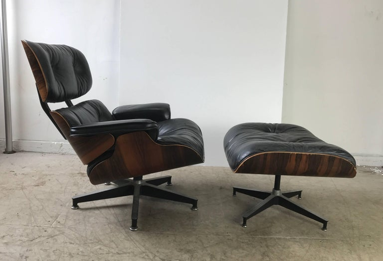 Aluminum Early Classic Mid-Century Modern 670/671 Eames Lounge and Ottoman Herman Miller