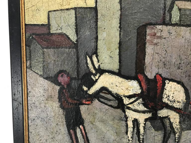 Modernist oil on canvas by Renato Selvi, Italy.