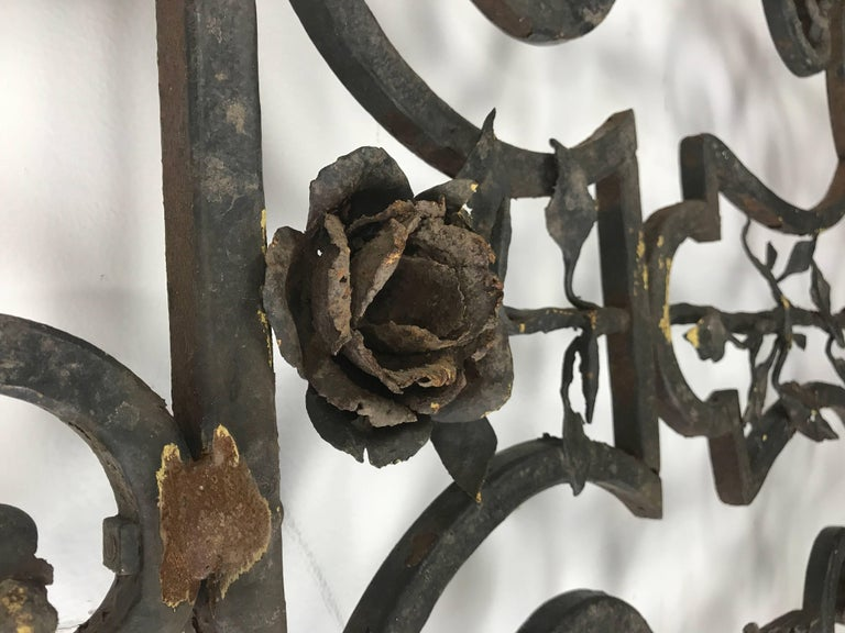 Hand-Crafted Arts & Crafts Decorative Wrought Iron Gates For Sale