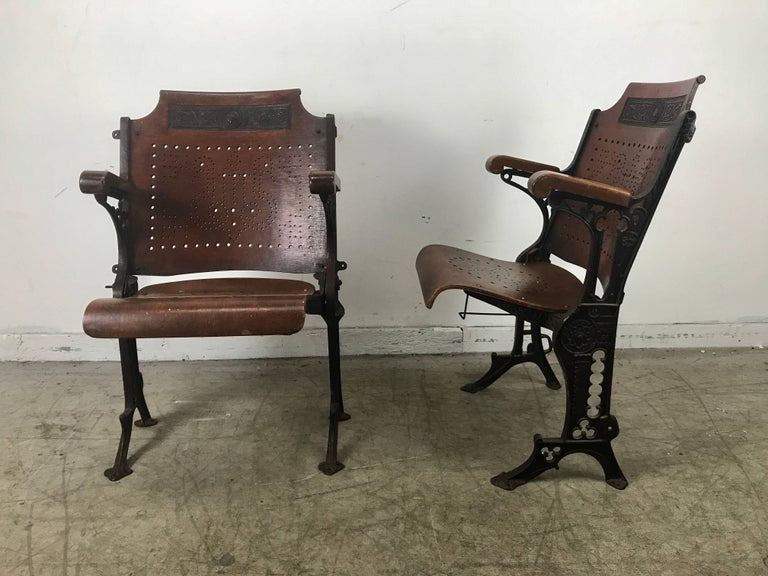 Early Cast Iron And Wood Theater Or Opera Chairs A H