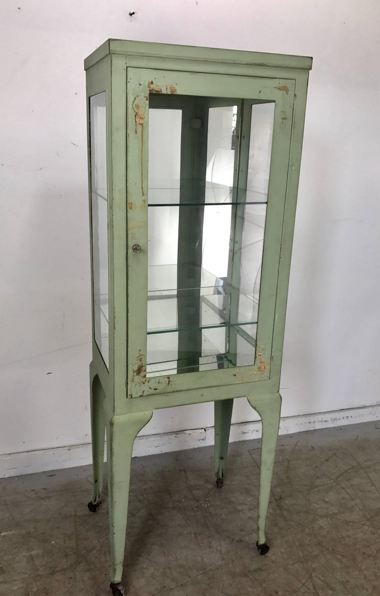 Classic 1920s Metal and Glass Specimen Cabinet, Medical, Industrial For Sale 1