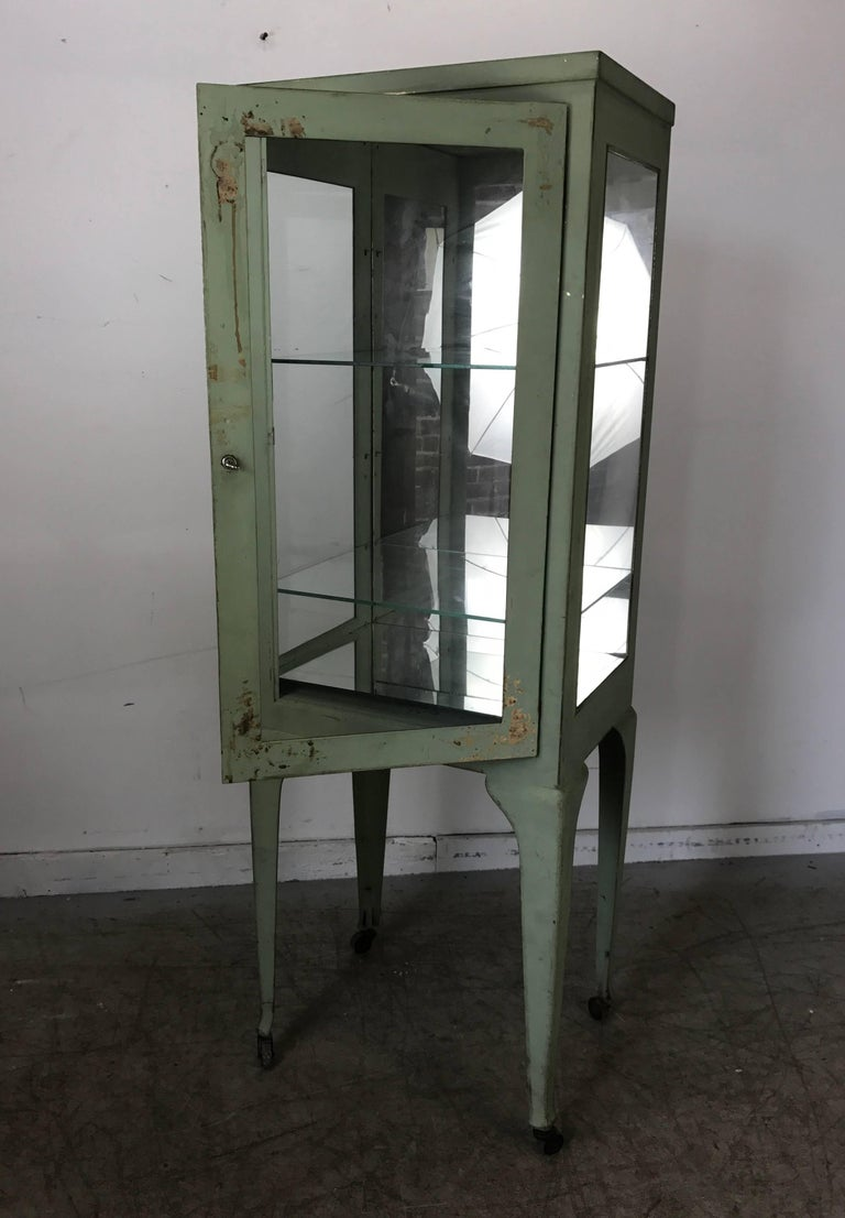 Painted Classic 1920s Metal and Glass Specimen Cabinet, Medical, Industrial For Sale