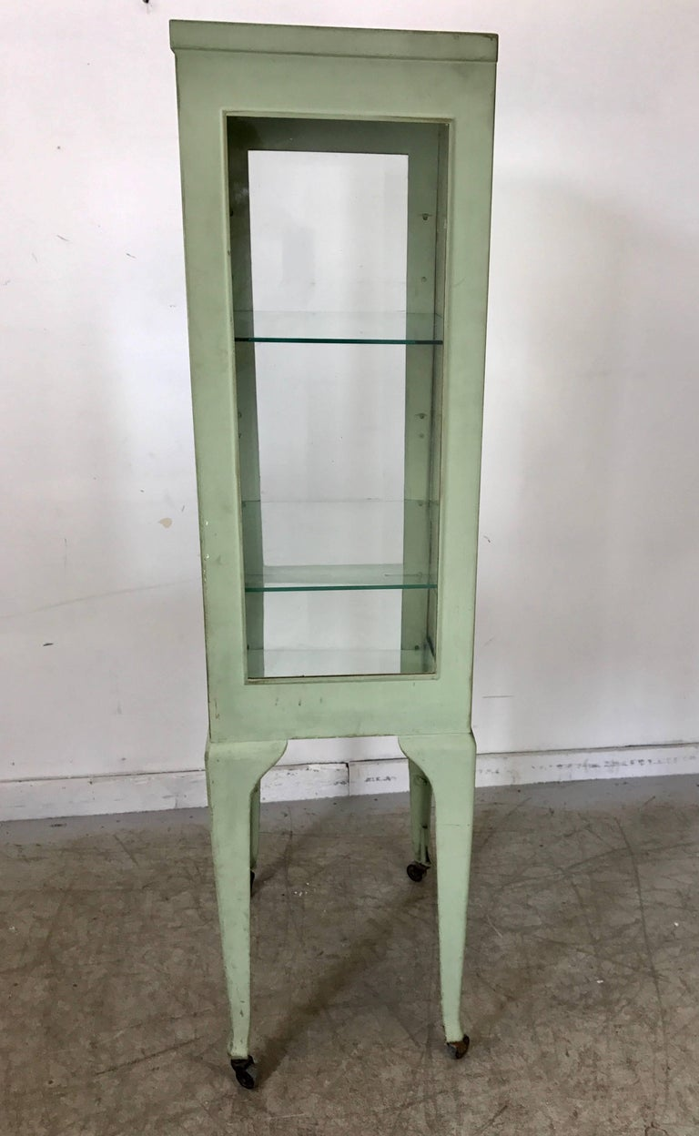 American Classic 1920s Metal and Glass Specimen Cabinet, Medical, Industrial For Sale