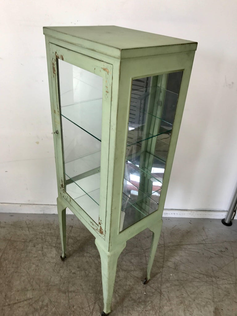 Early 20th Century Classic 1920s Metal and Glass Specimen Cabinet, Medical, Industrial For Sale