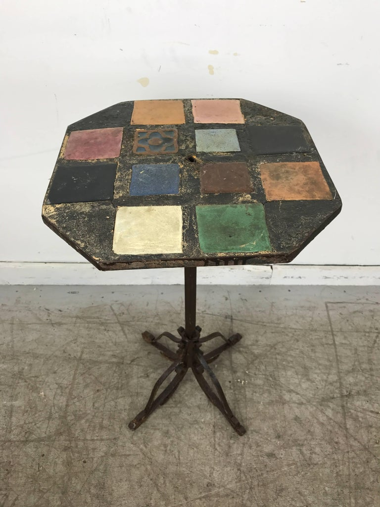 Italian Stunning Arts and Crafts Iron and Tile-Top Stand or Table, Italy For Sale