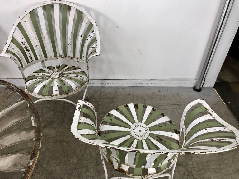 1930s Art Deco Metal Fan Back Garden Set Table And Chairs