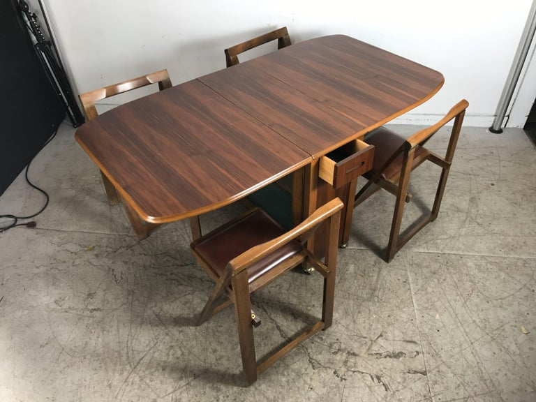 Modernist suitcase dining table fold down compact self stored chairs for sale at 1stdibs - Fold down dining room table ...