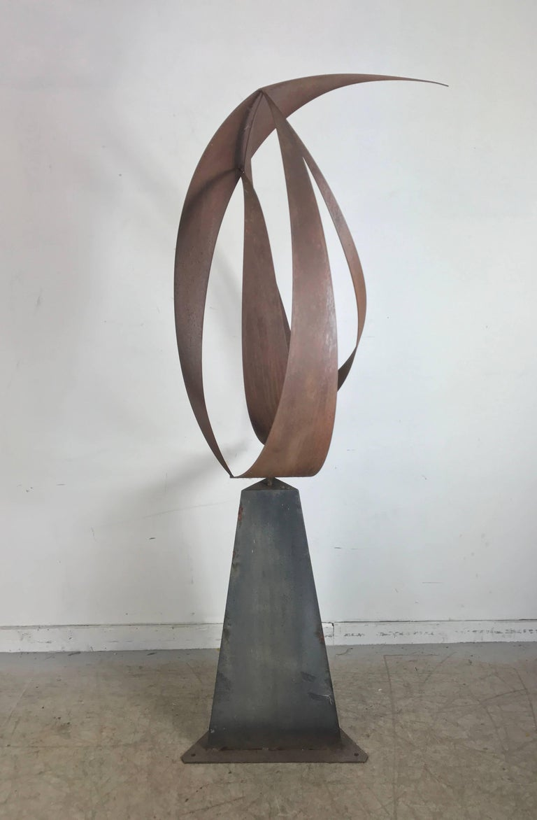 Large Metal Abstract Modernist Sculpture By Bill Heise At