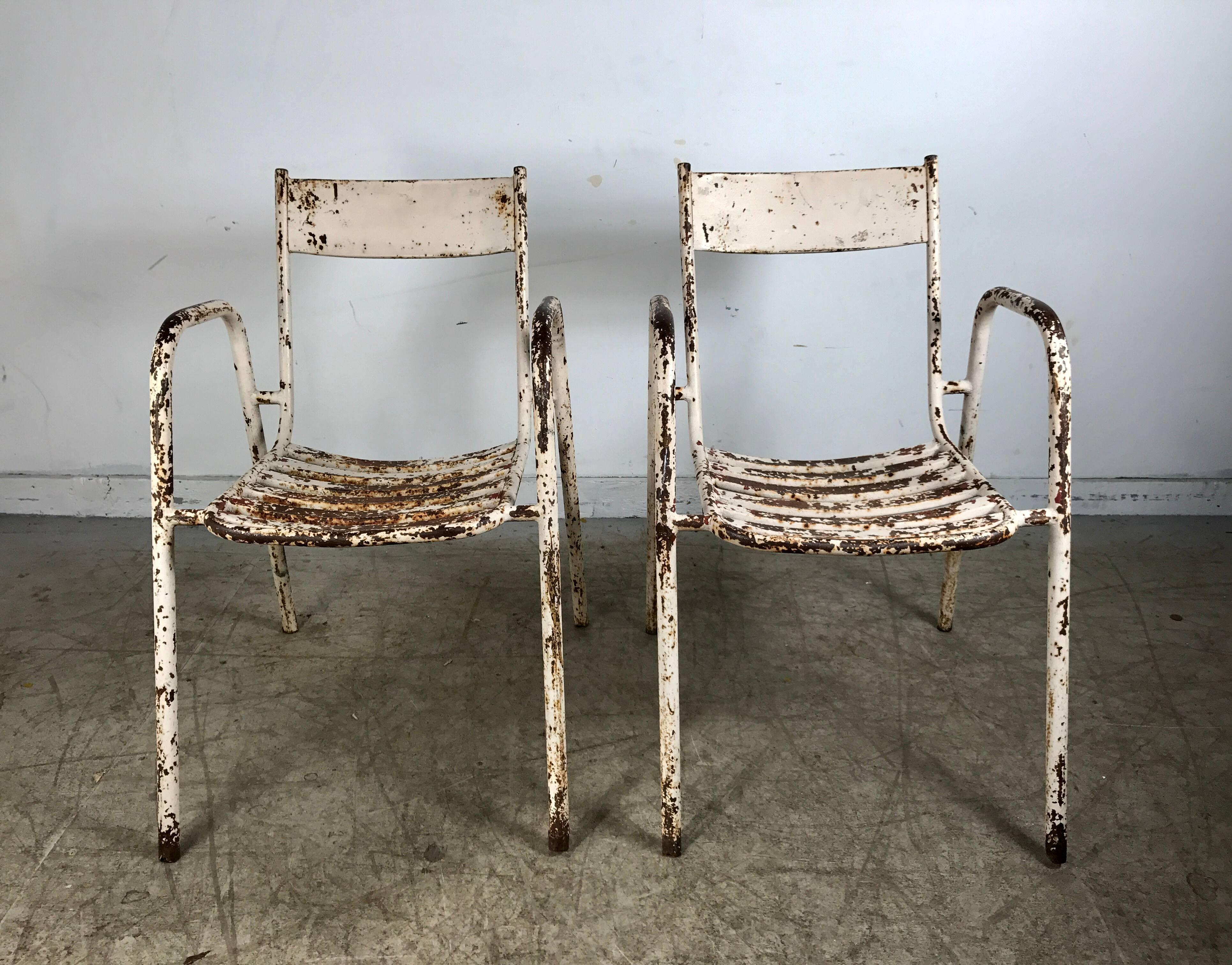 Painted Pair Of French Industrial Tolix Style Metal Garden Chairs, Stacking  For Sale