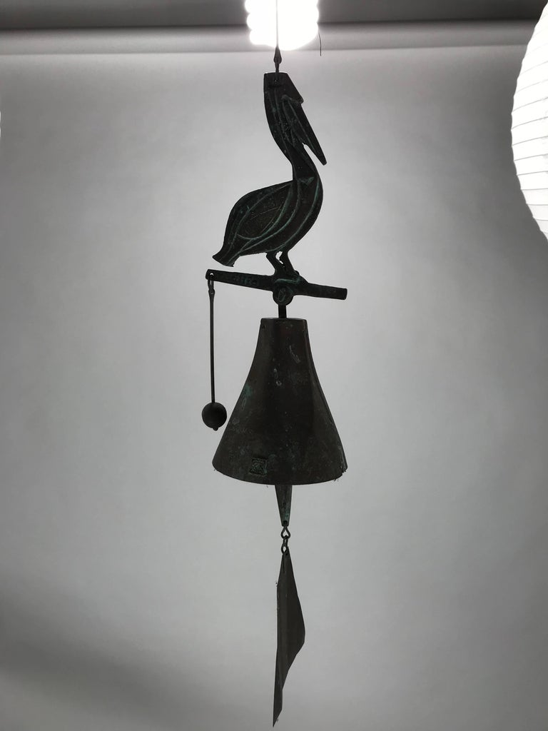 Mid-Century Modern Paolo Soleri Wildlife Pelican Cast Bronze Bell / Wind Chime Arcosanti For Sale