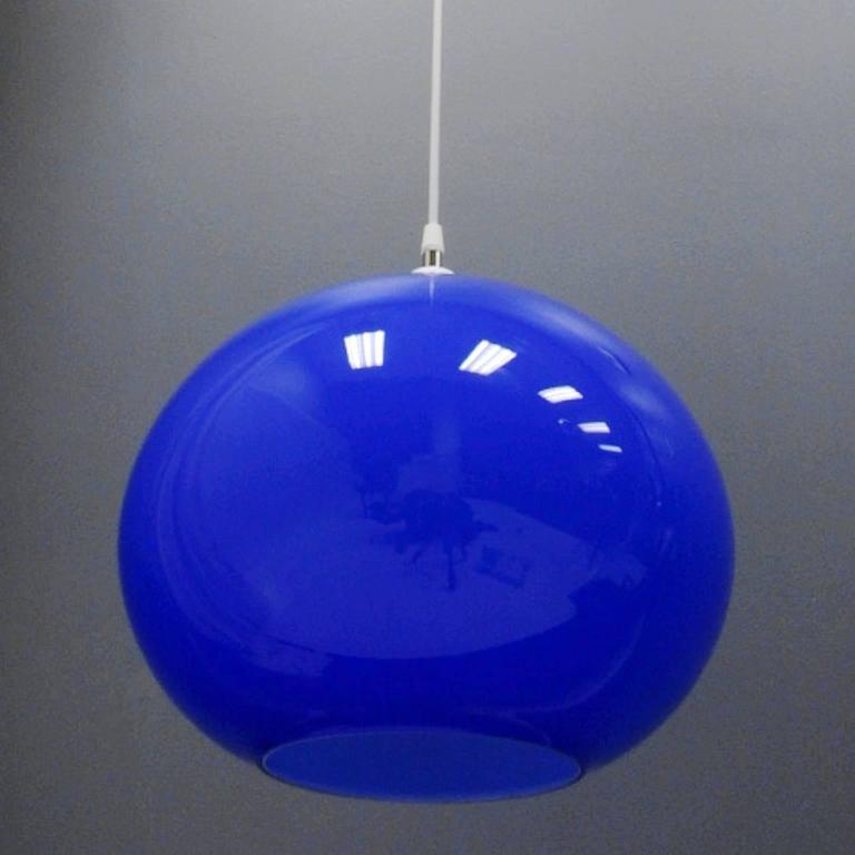 Vistosi Hanging Blue Murano Glass Globe Light Fixture