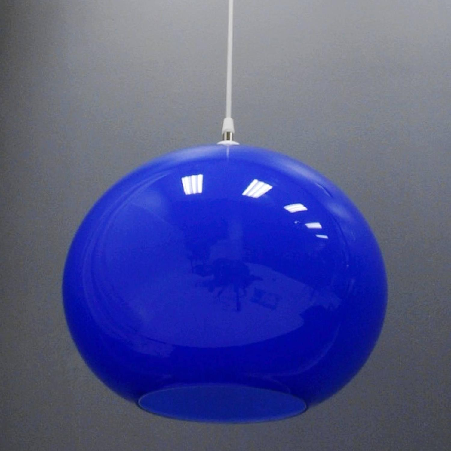 Vistosi Hanging Blue Murano Glass Globe Light Fixture