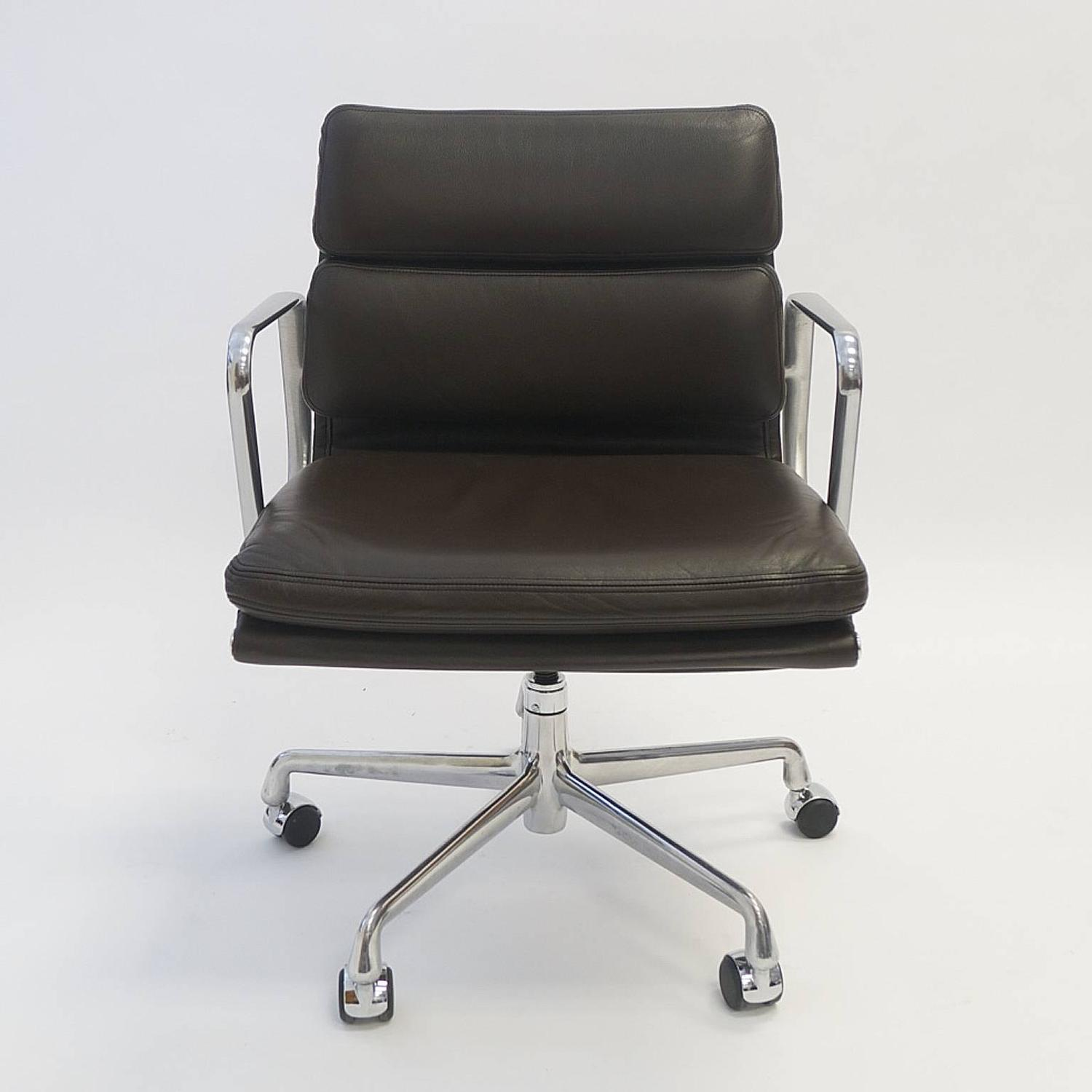 and ray eames soft pad chair in leather by herman miller at 1stdibs