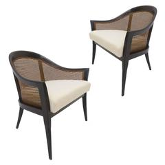 Pair of Harvey Probber Cane and Mahogany Occasional Armchairs w White Upholstery