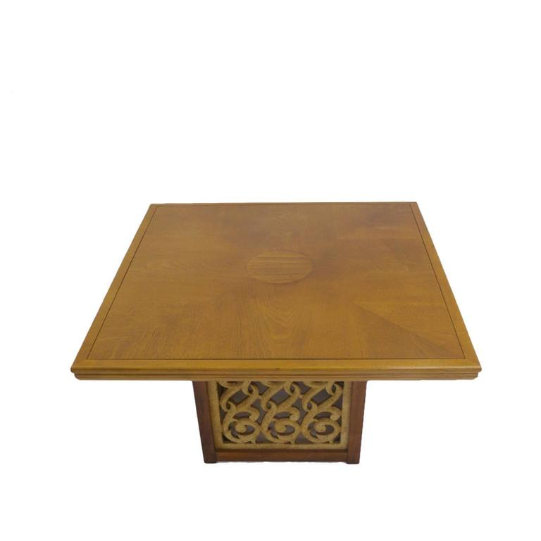 Molded Rare Widdicomb Walnut Coffee or Cocktail Table with Decorative Base For Sale