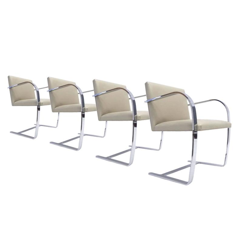 "Set of Four Mies van der Rohe Volo ""Parchment"" Flat Bar Brno Chairs by Knoll For Sale"