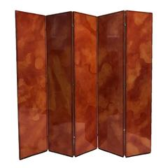 Rare Signed Karl Springer Five-Panel Folding Screen Parchment/Goatskin & Leather