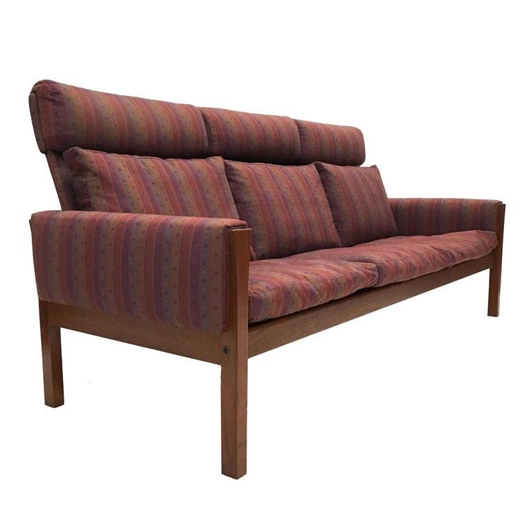 Rare Hans Wegner Teak Frame Sofa for A.P. Stolen High Back Version For Sale