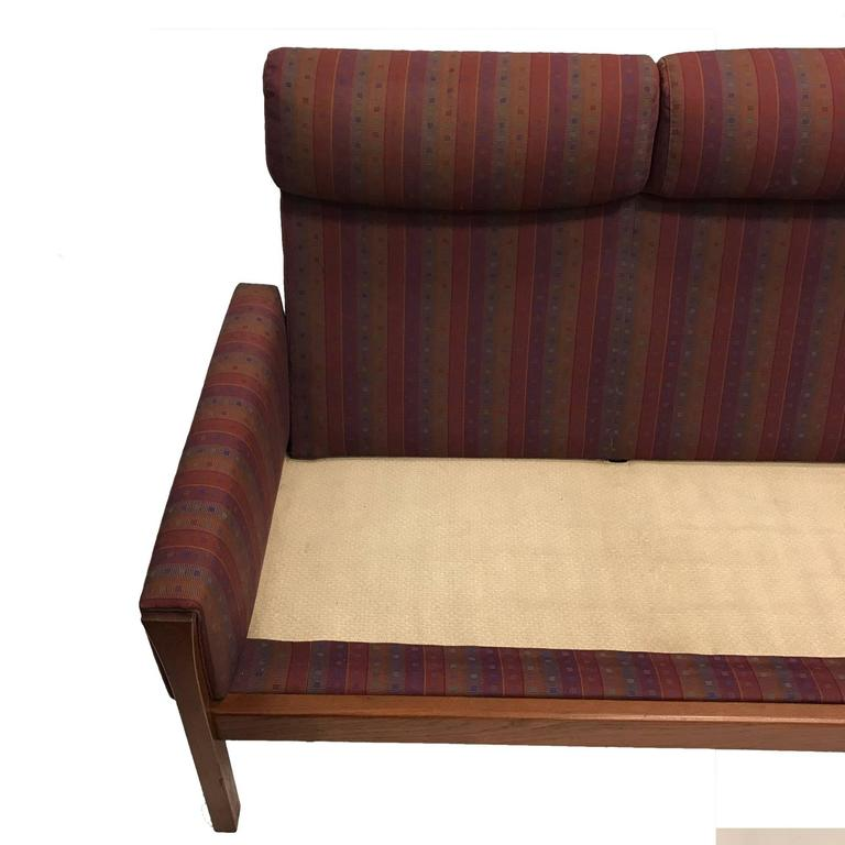Rare Hans Wegner Teak Frame Sofa for A.P. Stolen High Back Version In Good Condition For Sale In Hudson, NY