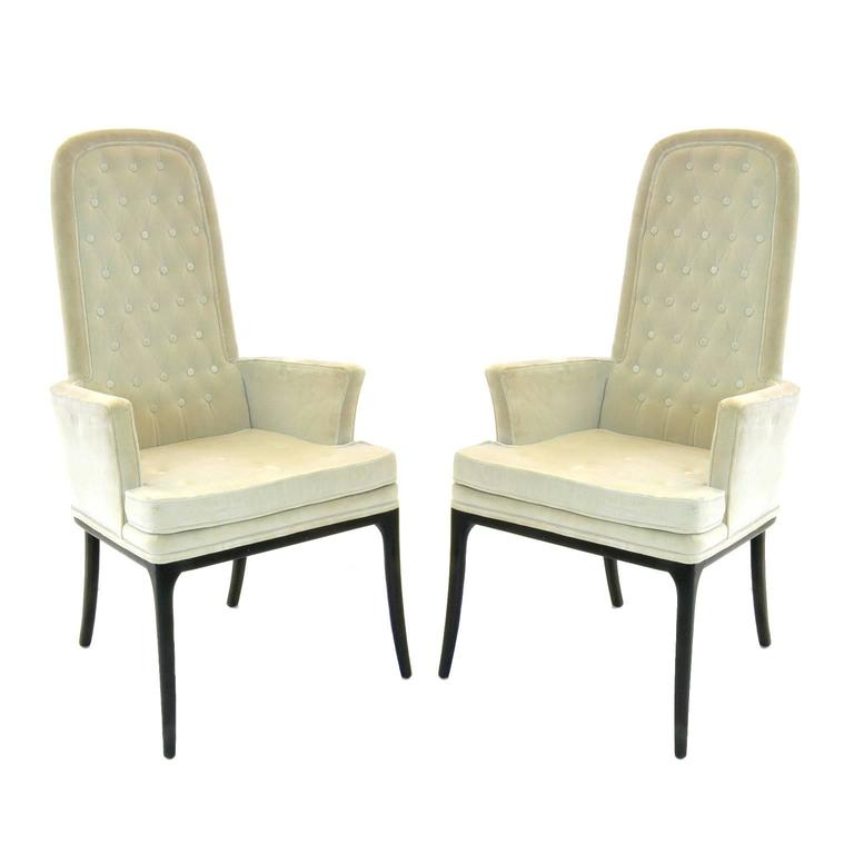 A lovely pair of occasional armchairs in the original cream colored velour upholstery. Good usable original upholstery.