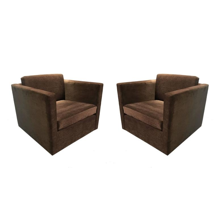 Pair of Charles Pfister for Knoll Petite Club Chairs in Brown Velour