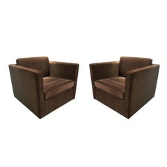 Pair of Charles Pfister for Knoll Petite Tuxedo Box Club Chairs in Brown Velour