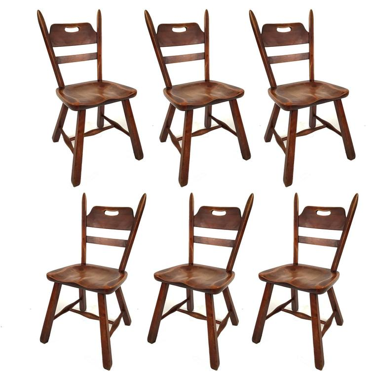 Six Hard Rock Vermont Maple Americana Dining Chairs