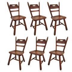 Six Hard Rock Vermont Maple Americana Dining Chairs, Herman DeVries for Cushman