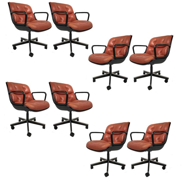 "Charles Pollock for Knoll ""Terracotta"" Leather Executive Swivel Tilt Armchairs"