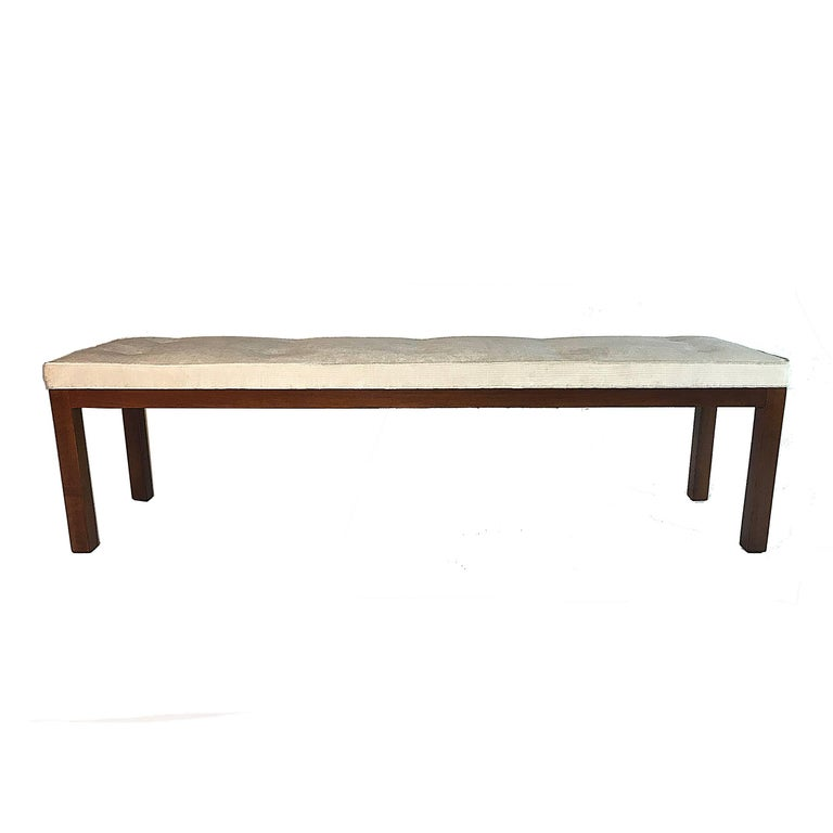 Mid-Century Modern Harvey Probber Tufted Bench with Parson Style Mahogany Base and Textured Velvet For Sale