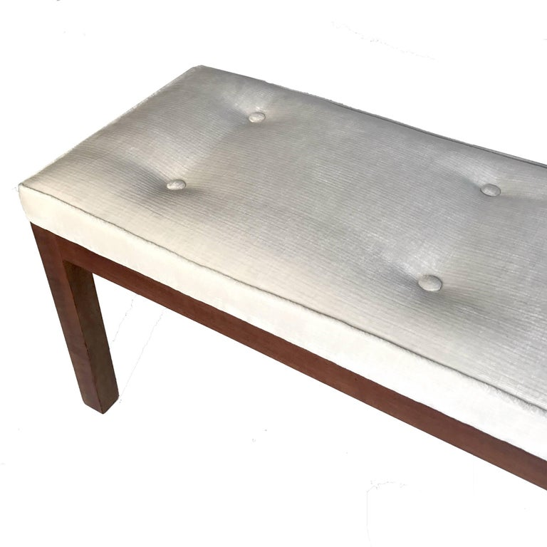 American Harvey Probber Tufted Bench with Parson Style Mahogany Base and Textured Velvet For Sale