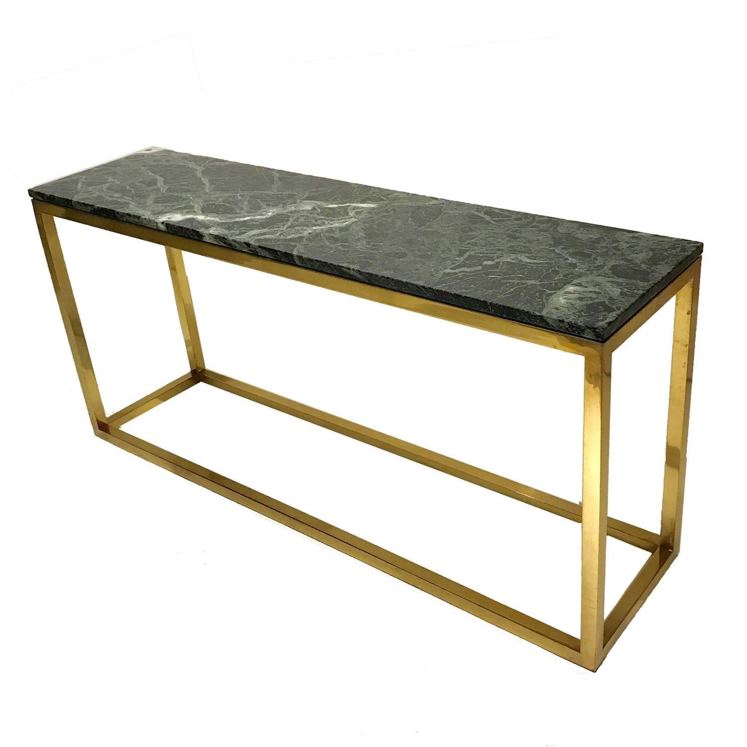 Sleek and Modern Heavy Pace Collection Green Marble and Brass