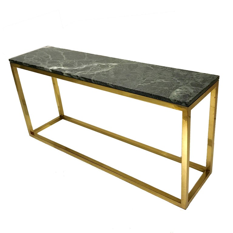 Sleek & Modern Heavy Pace Collection Green Marble and Brass Frame Console Table