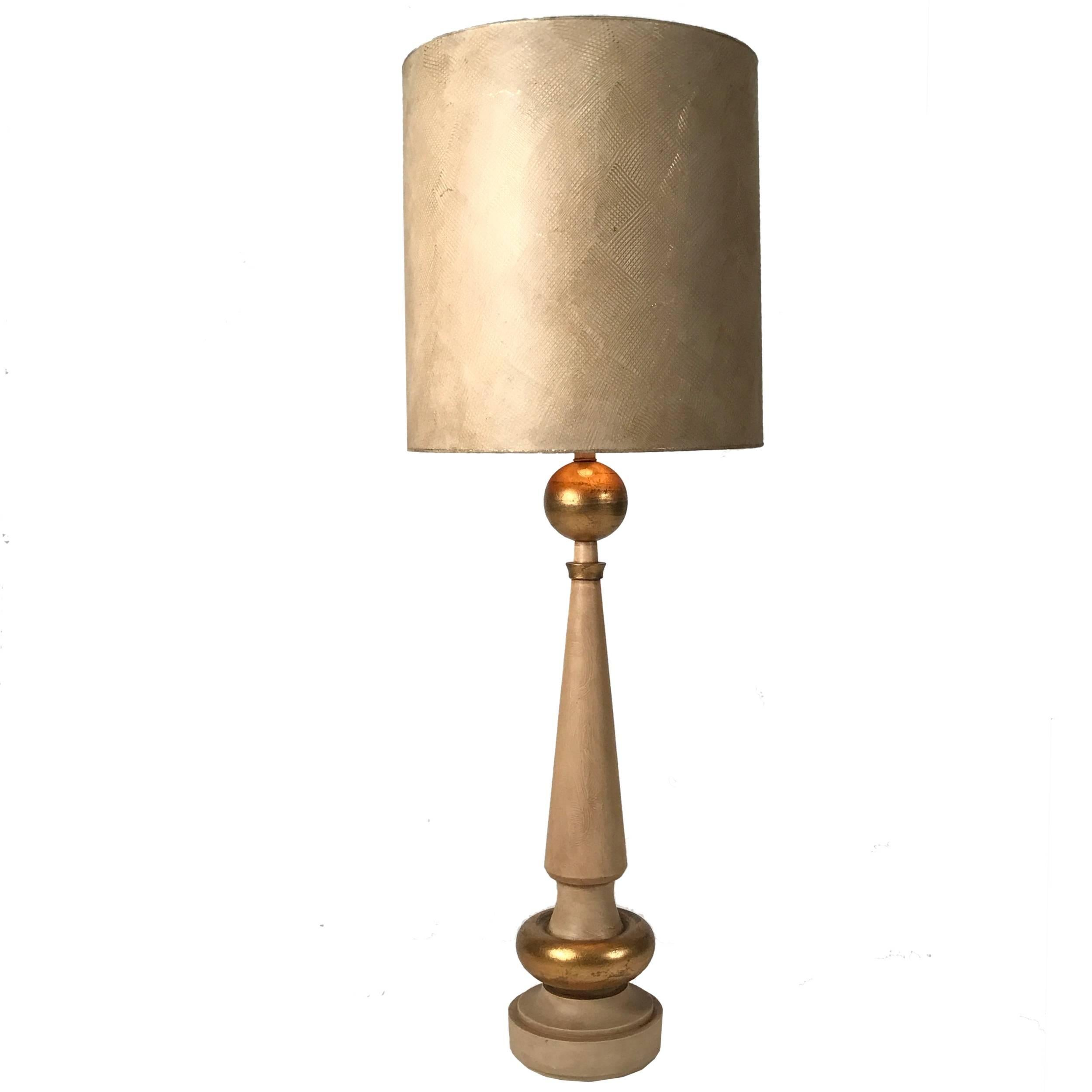 Monumental 1950s Regency Torchiere Lamp in the Manner of James Mont