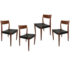 Set of Four Niels Otto Møller Number 77 Teak and Leather Dining Chairs