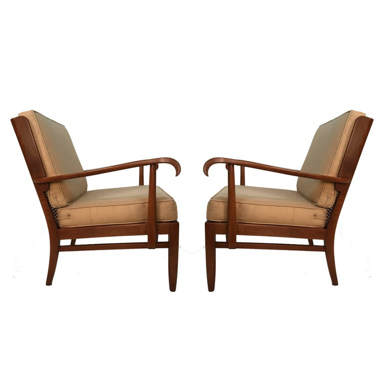 Mid-Century Modern Stunning Pair of Sleek Armchairs by Willhelm and Walter Knoll for Knoll Antimott For Sale