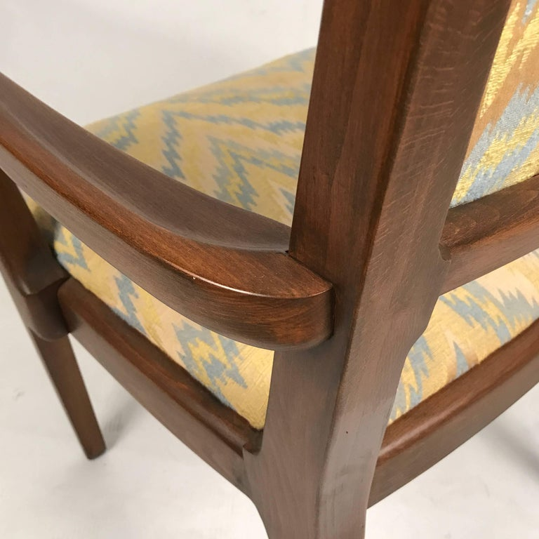 Designed by Edward Wormley for Drexel Furniture. Gorgeous textured Missoni style chevron flame upholstery. Set features four side chairs and two armchairs. 