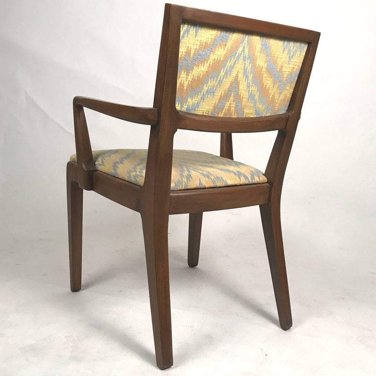 Set of 6 Edward Wormley for Drexel Dining Chairs with Chevron Upholstery In Good Condition For Sale In Hudson, NY