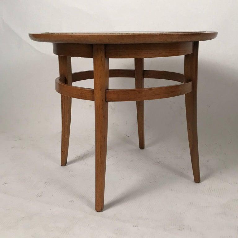 Drexel Meridian Pecan and Italian Travertine Lamp or End Table 2