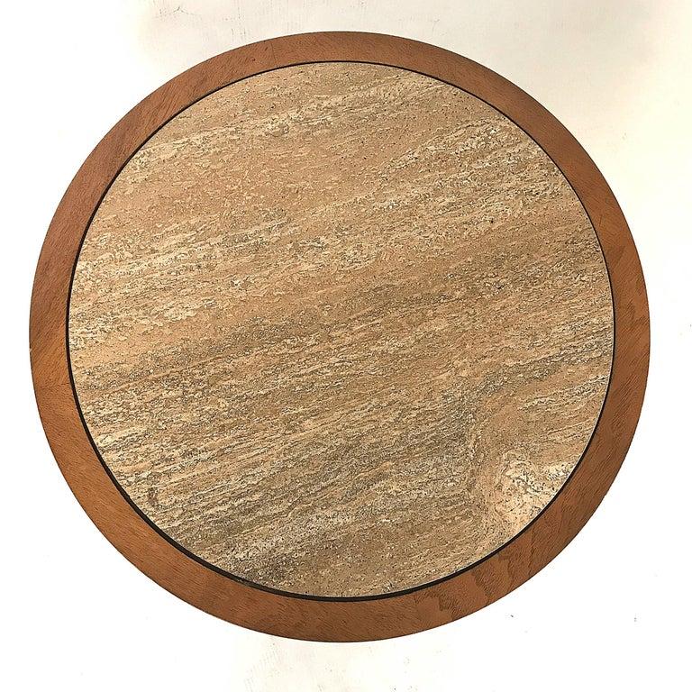 Drexel Meridian Pecan and Italian Travertine Lamp or End Table 4