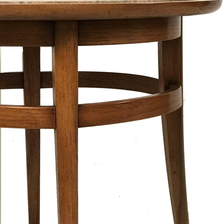 Drexel Meridian Pecan and Italian Travertine Lamp or End Table In Good Condition For Sale In Hudson, NY