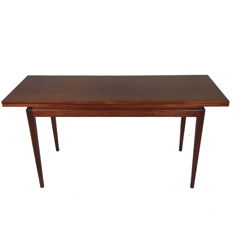 Jens Risom Convertible Flip-Top Console/Card or Dining Table W. Hidden Storage