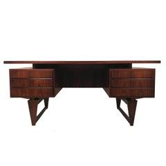 Danish Modern Sculptural Architectural Rosewood Executive Desk by Illum Wikkelsø