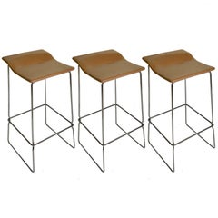 Set of Three Last Minute Stitched Leather & Steel Bar Stools, Patricia Urquiola