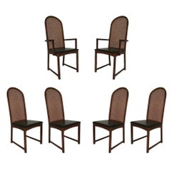 Set of Six Milo Baughman High Back Cane and Walnut Dining Chairs for Directional